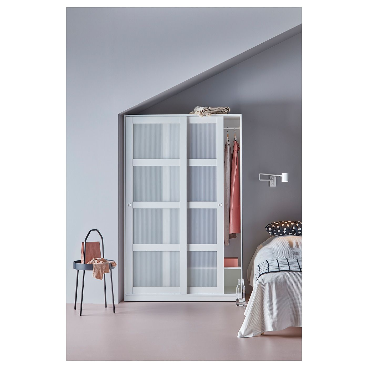 Kvikne Wardrobe With 2 Sliding Doors White 47 1 4x74 3 4 In 2020 Doors Interior Sliding Doors Bedroom Armoire
