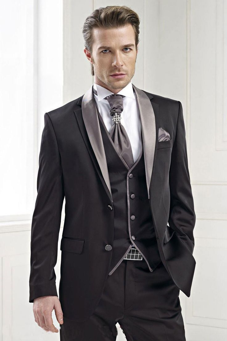 0b3ca928f26 Charcoal Men Suit Formal Groomsmen Tuxedos Slim Best Man 3 Piece Wedding  Suits