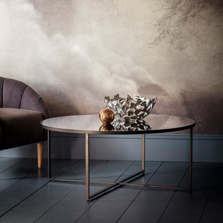 Gallery Direct Torrance Coffee Table Mirrored Coffee Tables Contemporary Coffee Table Round Coffee Table