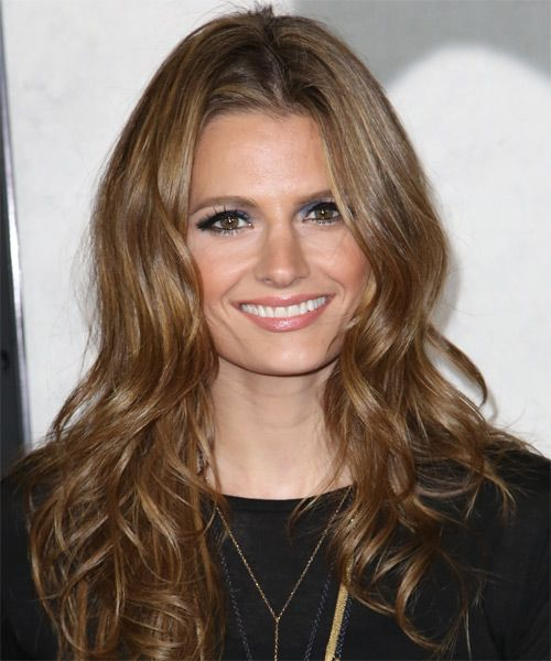 Stana Katic Long Wavy Formal Hairstyle - Medium Brunette (Caramel ...