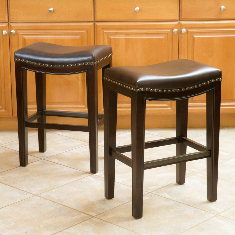 Set Of 2 Brown Leather Backless Counter Stools W Brass Nailhead