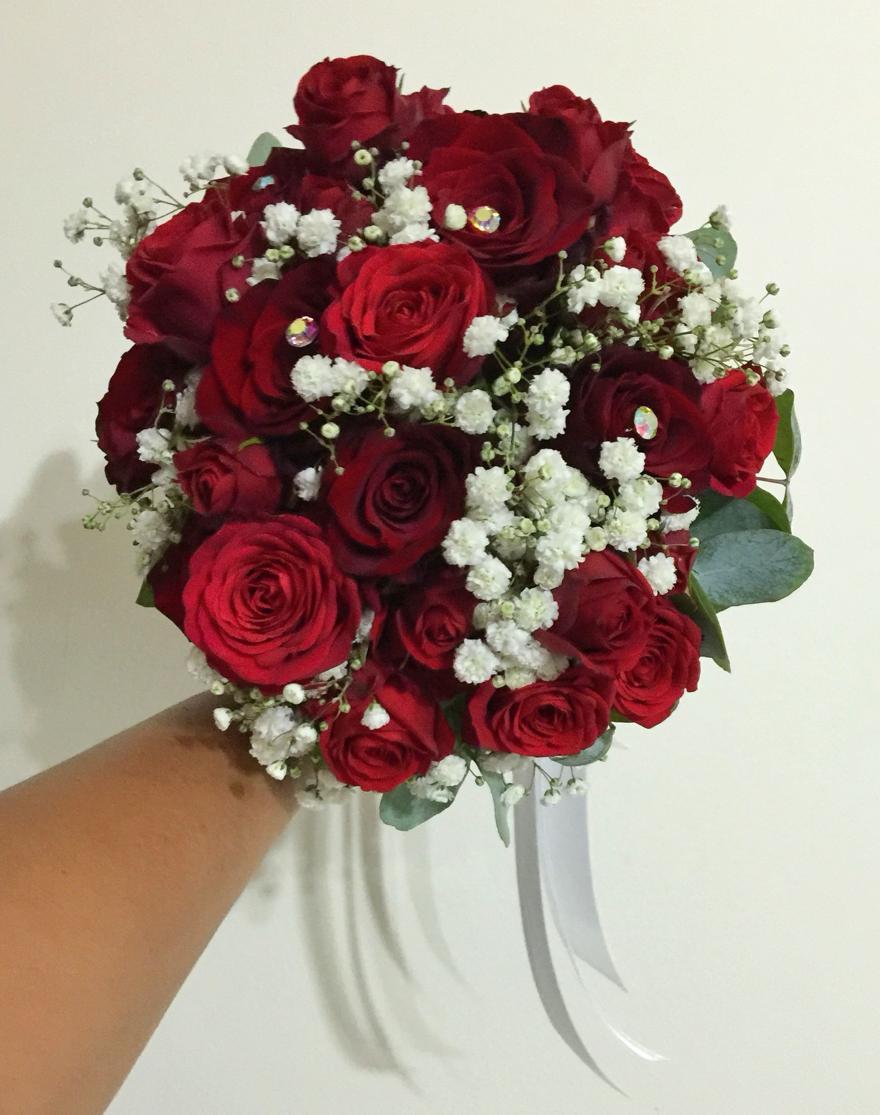 Simple red roses babys breath eucalyptus bridal bouquet www simple red roses babys breath amp eucalyptus bridal bouquet myreika izmirmasajfo