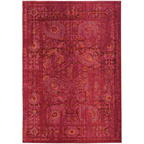 Aura Faded Traditions Fl Pink Red Area Rug 4 X 5 9 By Pantone Universe