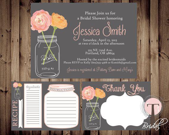 bridal package, mason jar invitation, bridal shower invitation, Baby shower invitations