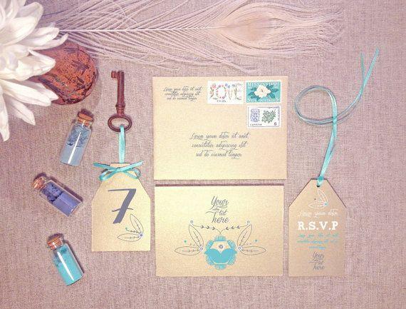 Spring/summer wedding invitation set -  invitation, RSVP tag, table number, & envelope - custom colours avail - min order 20+