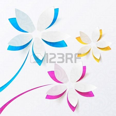 Paper Flowers Vector Greeting Card Template Stock Photo