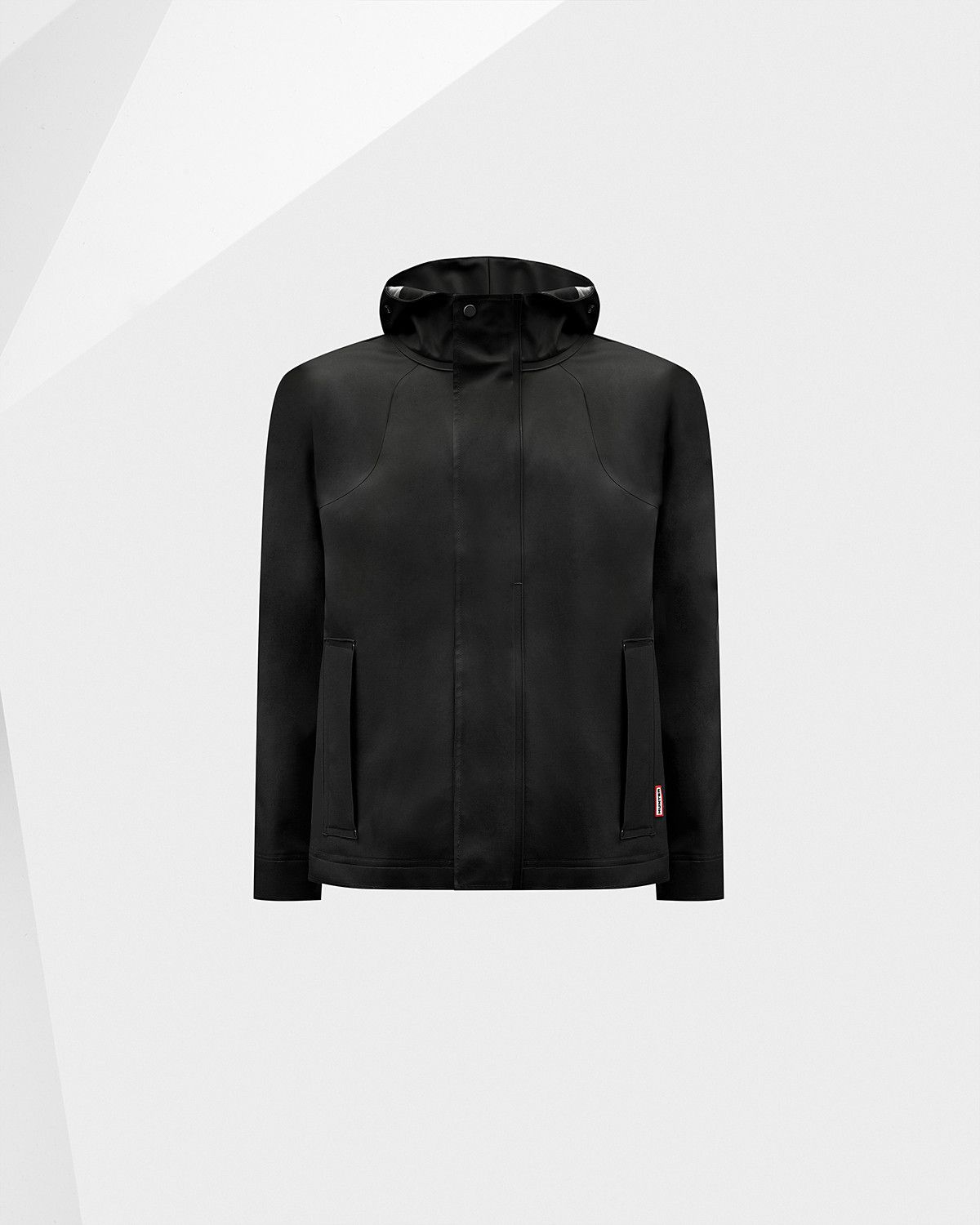 A waterproof jacket with a matte rubber-touch finish.
