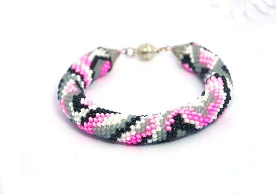Pink black white gray Beaded crochet bracelet rope bangle Abstraction women
