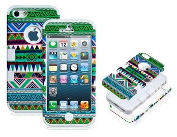 3-in-1 Plastic & Silicone Protective Case for iPhone 5 (Green & White)