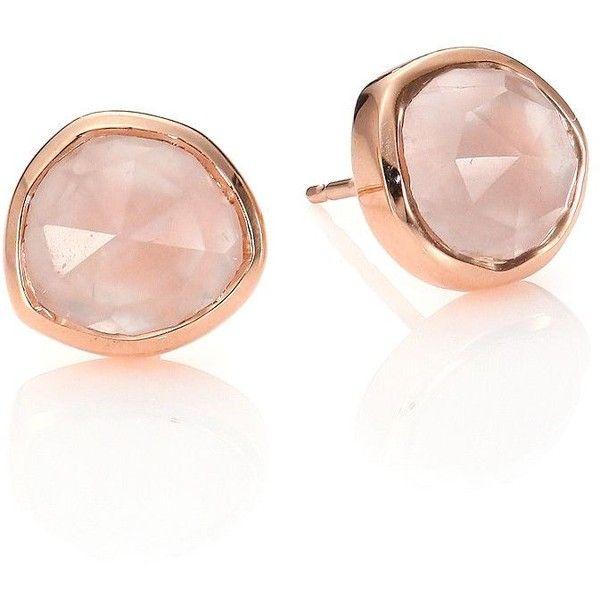 Rose Gold Siren Mini Stud Earrings Pink Quartz Monica Vinader RxJcjT4WR