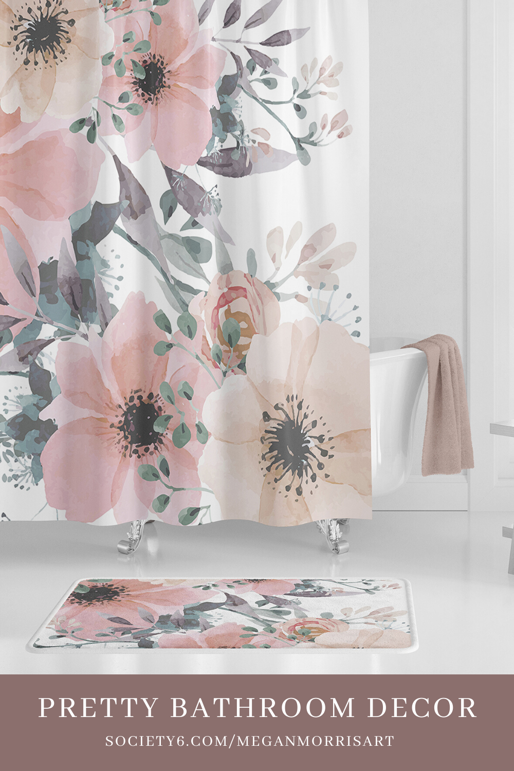 Pretty Bathroom Ideas Floral Shower Curtain For Girls Elegant