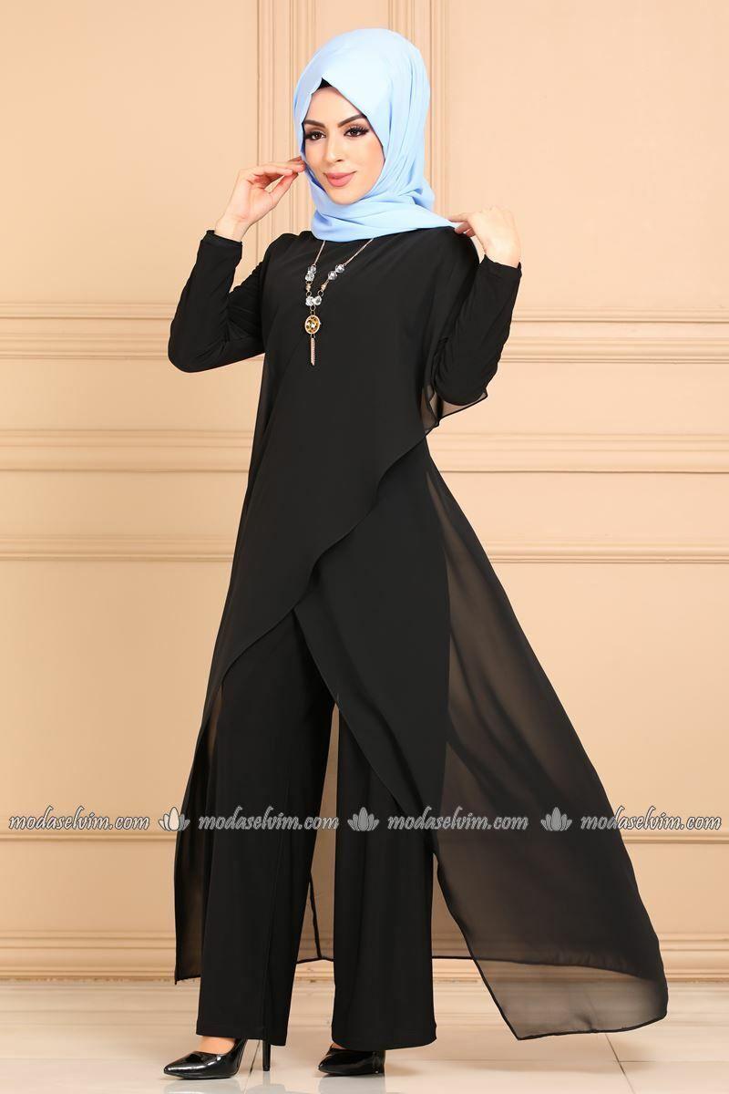 Moda Selvim Verev Kesim Kolyeli Tulum 2146ms212 Siyah Fashion Dresses Nun Dress