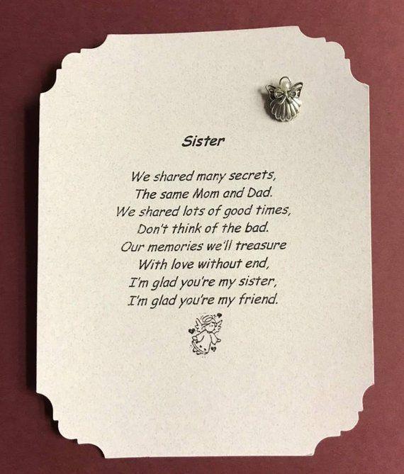 Sister Poem Angel Pin Gift For Birthday Sisters Christmas