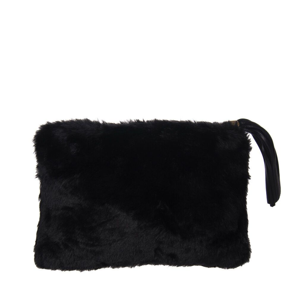 Clutch Bag Pouch Leather Tassel Detail