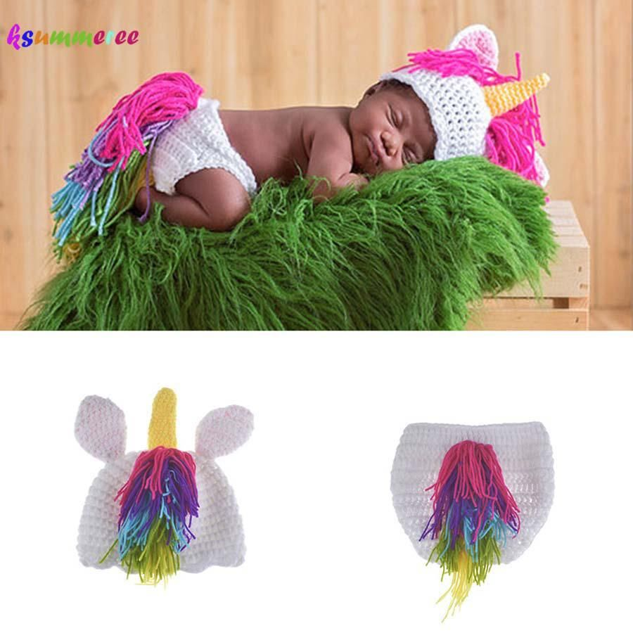 bba53ec6400 Crochet Unicorn Costume Outfit Newborn Rainbow Unicorn Photography Prop  Baby Hat and Diapre Cover Set Infant Shower Gift. Yesterday s price  US   14.80 ...