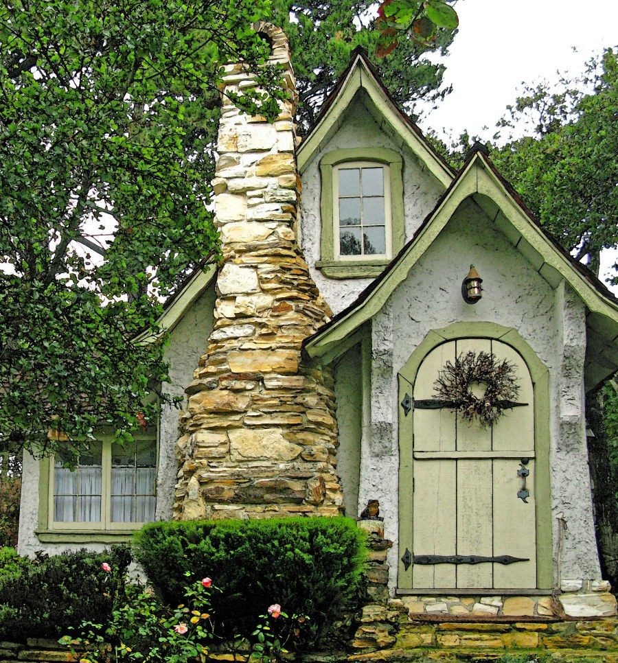 Real Fairy Tale Cottage In Carmel CA Inspiration For A DIY House The Steep Roof Peaks Rounded Door Stacked Stone Fireplace And Shades Of