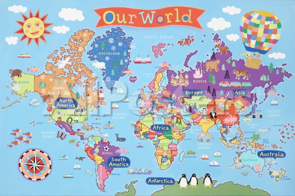 kid s laminated world map poster kids world map world on laminated wall maps id=91483