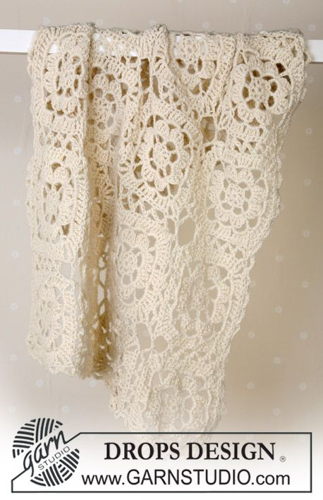 Lacy square, free DROPS Design pattern 13-20. Uses hook size \'H ...