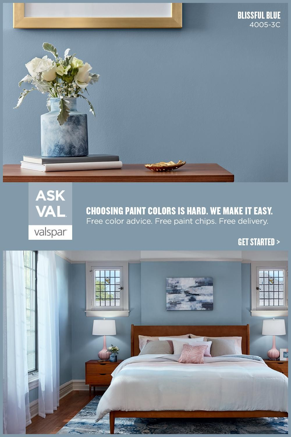 The Most Popular Colors In 2021 Are Taking Us Back To The Basics Like This Blissful Blue It S Blue Paint Living Room Bedroom Wall Colors Blue Bedroom Paint