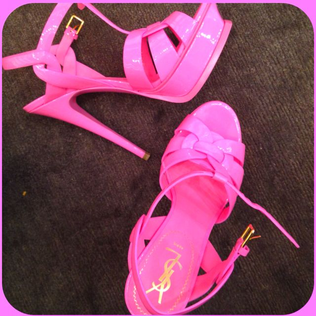 be7c0031ac Pink patent leather 'Tribute' sandal from Yves Saint Laurent. @Kellan Hyde  What would you wear these with? Barbie clothes?