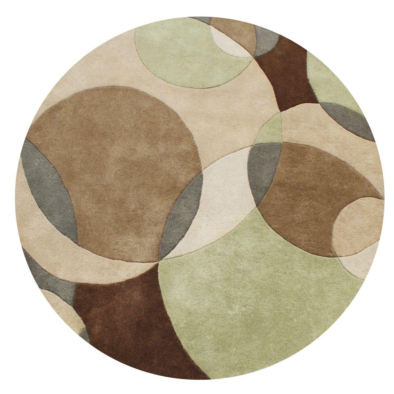 Alliyah Handmade Brown Light Brown Sand and Light Green New Zealand Blend Rug