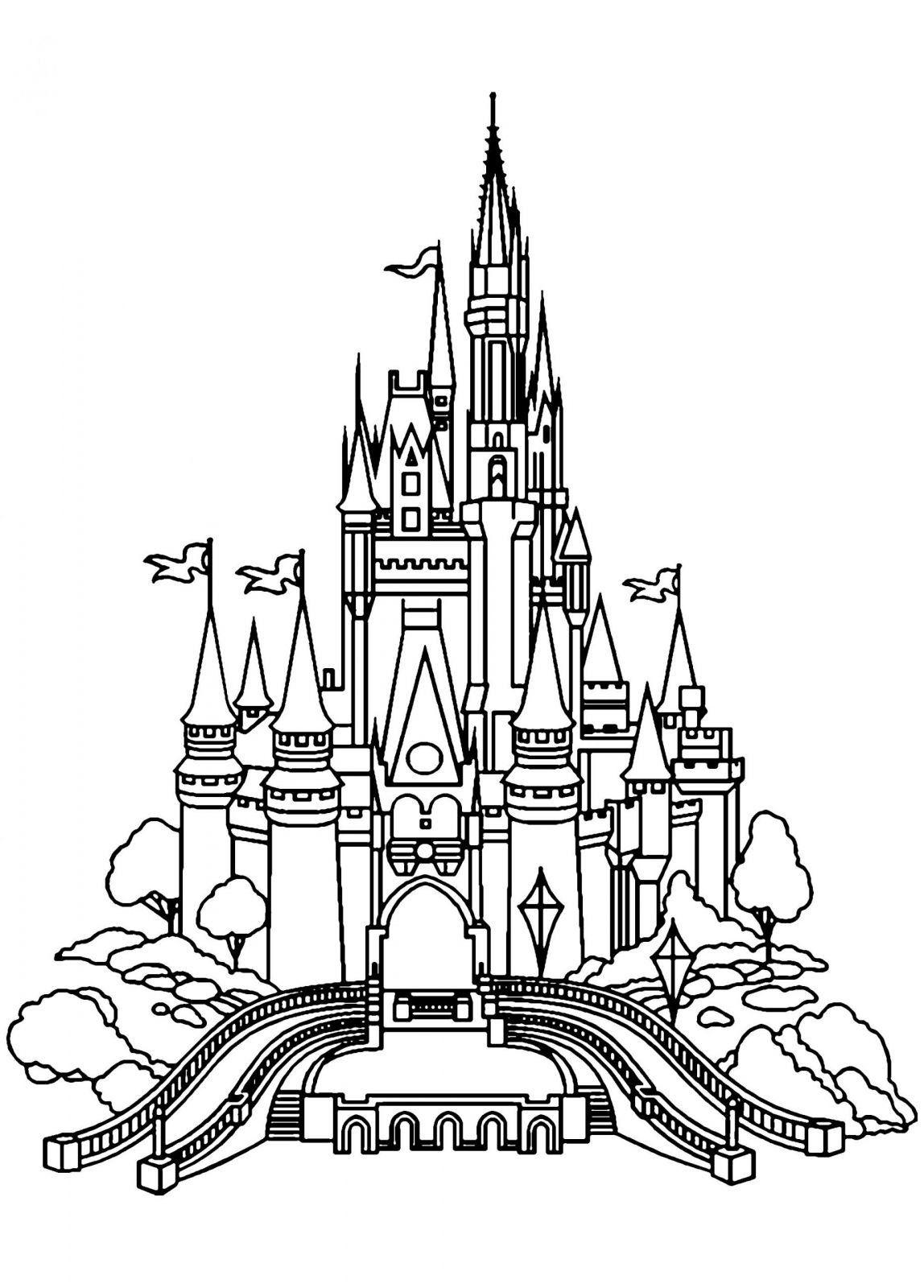 Coloriage Chateau Disney à Imprimer  Castle coloring page, Disney