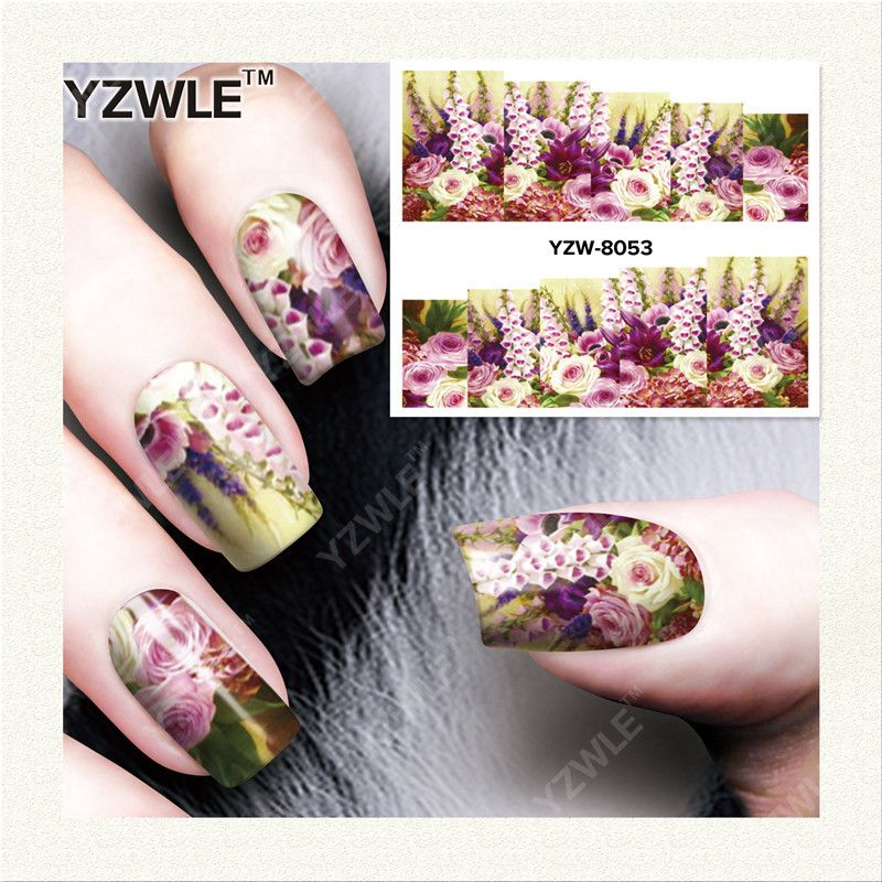 YZWLE 1 Vel DIY Decals Nagels Art Water Transfer Printen Stickers Accessoires Voor Manicure Salon YZW-8053