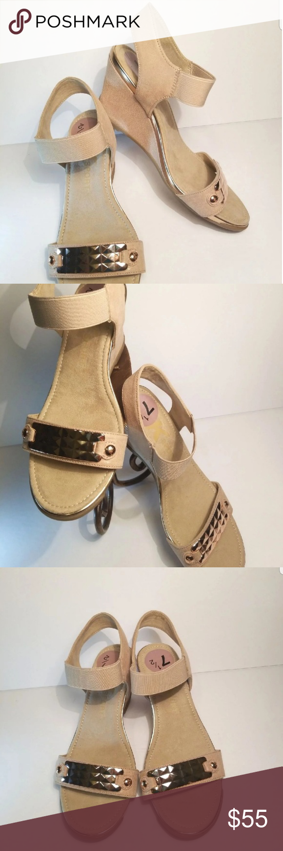 7cdfedfa02 Ann Klein Sport Sandal Super comfortable Brand New without tags AK Sport  Latasha comfort wedge sandals Size 7.5 Color: light natural Wedge heel: 3