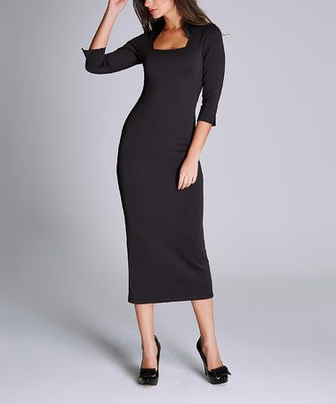 ec5ca0b09abe0 Look what I found on  zulily! Black Square Neck Midi Dress ...