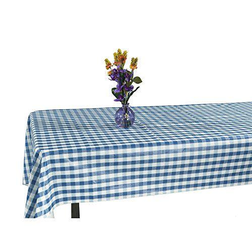 Ottomanson Vinyl Tablecloth Checkered Design Indoor Outdoor Non Woven Backing Tablecloth 55 Outdoor Tablecloth Tablecloth Sizes Vinyl Tablecloth