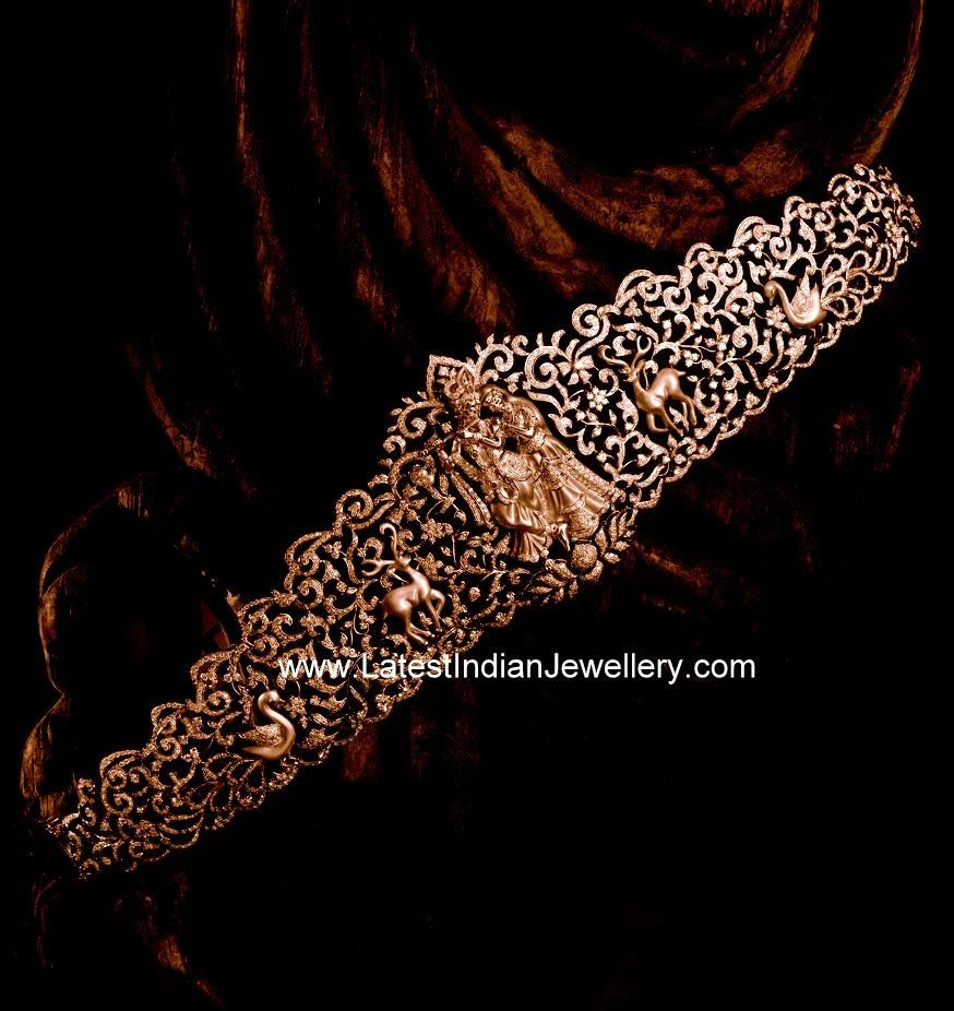 Gold vaddanam oddiyanam kammarpatta waisbelt designs south indian - Incredible Designer Diamond Vaddanam Featuring Divine Radha Krishna Design In 18 Karat Gold And Decked With Fine Diamonds This Bridal Diamond Waist Belt
