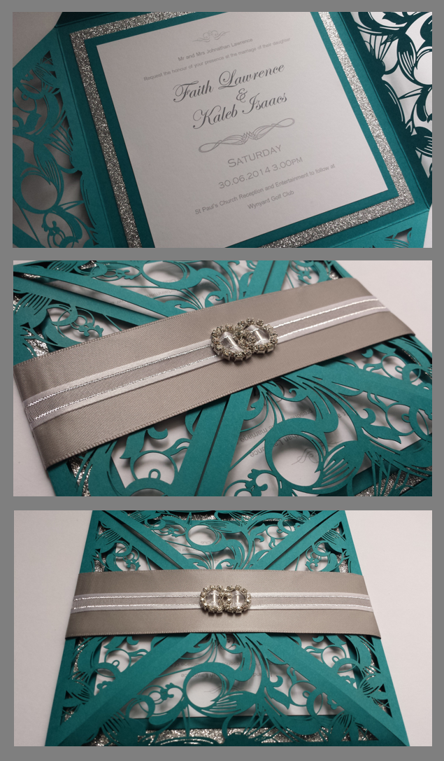 Handmade Turqoise Blue Silver Glitter Lasercut Wedding Invite From Eternal Treasures
