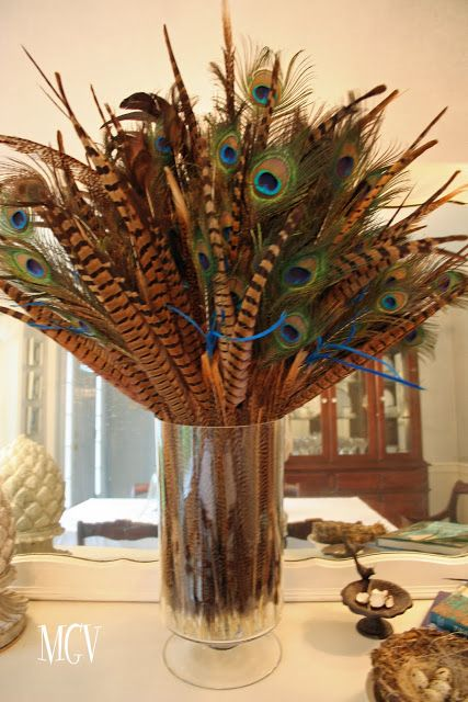 Diy Home Decor Feathers In Vases Decor By Style Peacock