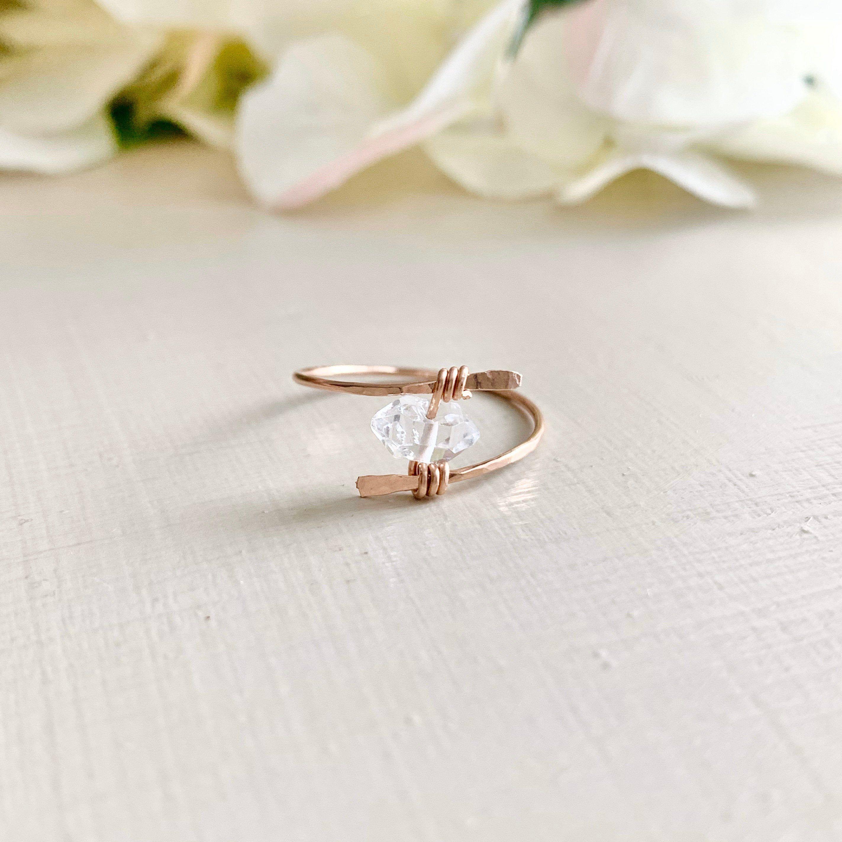 Cyber Monday Quartz Crystal Herkimer Diamond Ring Rose Gold Herkimer Diamond Rings Double Terminated Ring Raw Crystal Ring Engagement Gift In 2020 Raw Crystal Ring Raw Crystal Ring Engagement Herkimer Diamond Ring