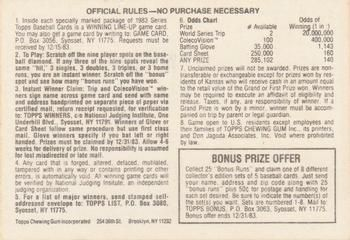 1983 Topps #NNO Winning Line-Up Game Card Back