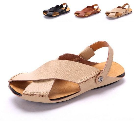 53ee448f6 Free Shipping 2014 new arrival men's sandals genuine leather men's classic  beach sandals summer fashion slippers size 38-44SAD02