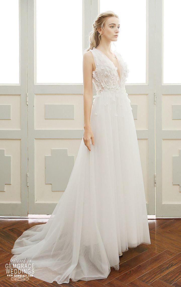 178 99 A Line Simple Boho Wedding Dress Deep V Neck Sweep Train Tulle With Open Back Df06 159 Gemgrace Com Wedding Dresses Rustic Wedding Gowns Bridal Dresses Lace [ 1137 x 720 Pixel ]
