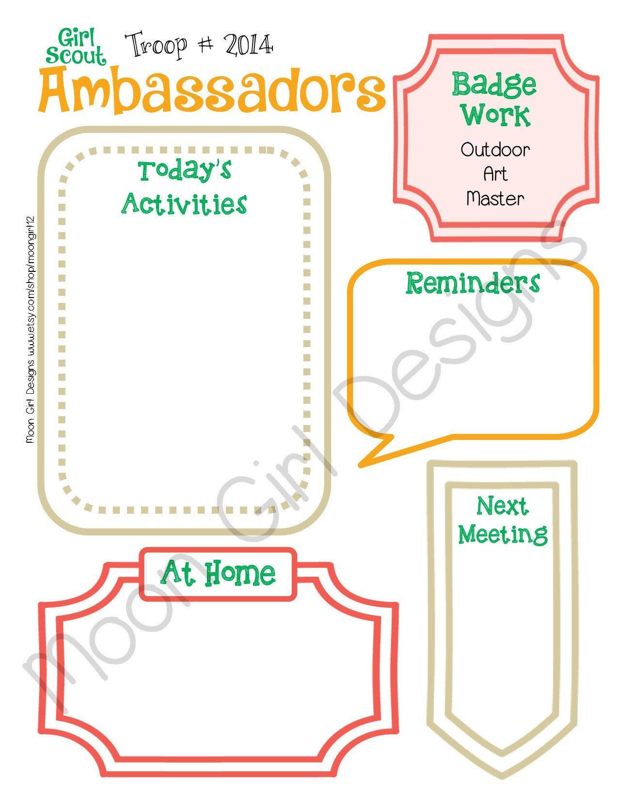 Ambassador Meeting Activity Planner Girl Scouts Editable