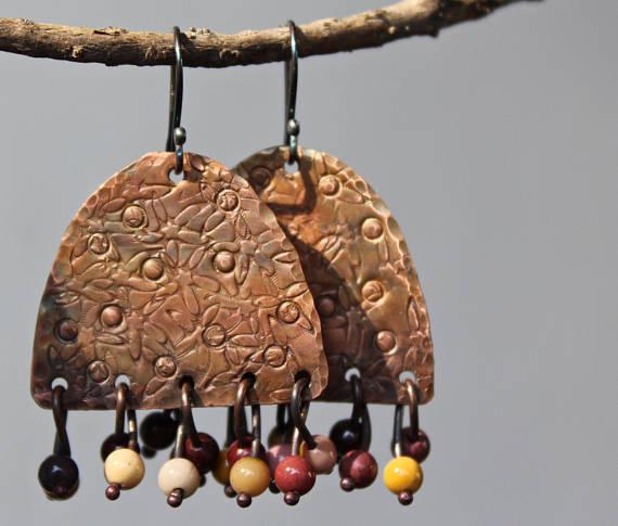 Handgefertigte Kupfer Ohrringe Kupfer Schmuck baumeln | Marketplace ...
