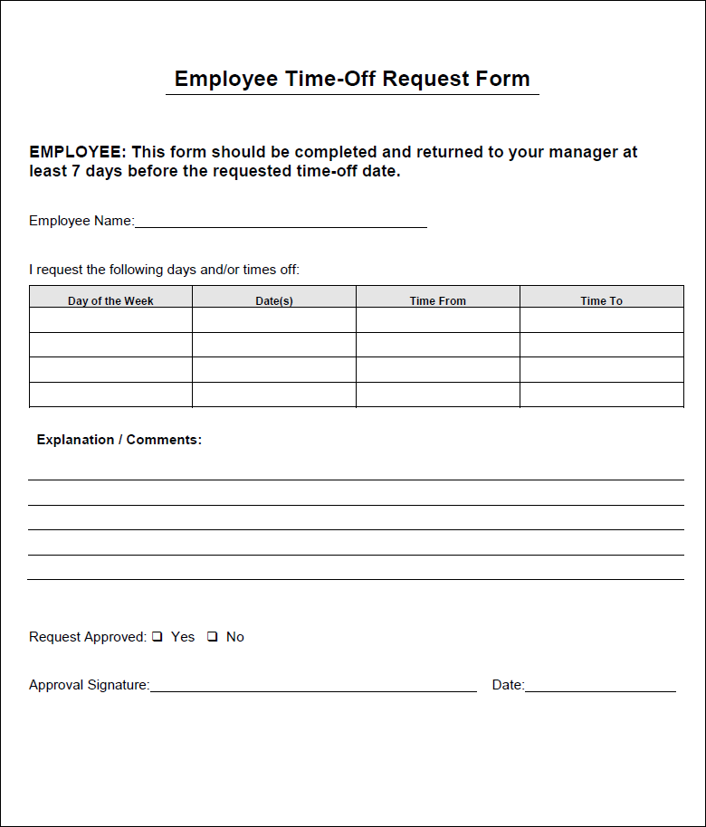 Time Off Request Form In Any Event As You Re Making Your Form You Must Incorporate Some Vi Time Off Request Form Order Form Template Photography Order Form