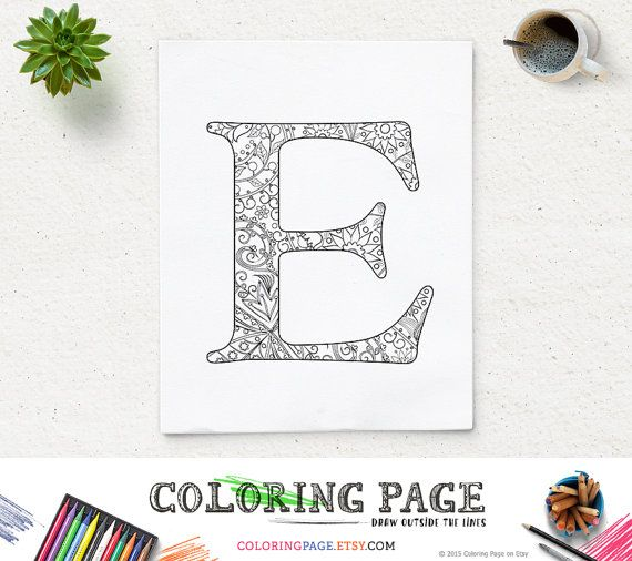 Floral Letters Coloring : Adult coloring page floral letters alphabet h hand lettering