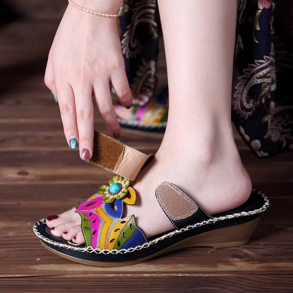 aa2721a896d6 High-quality SOCOFY Bohemian Leather Adjustable Hook Loop Printing Forest  Sandals - NewChic