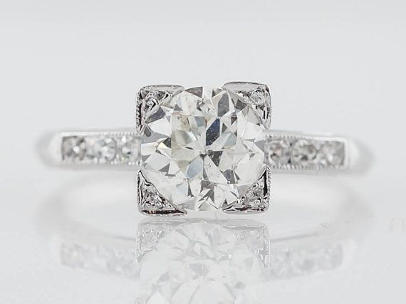 My engagement ring is almost identical to this, now I have to find a band that looks good with it - Antique Engagement Ring Art Deco