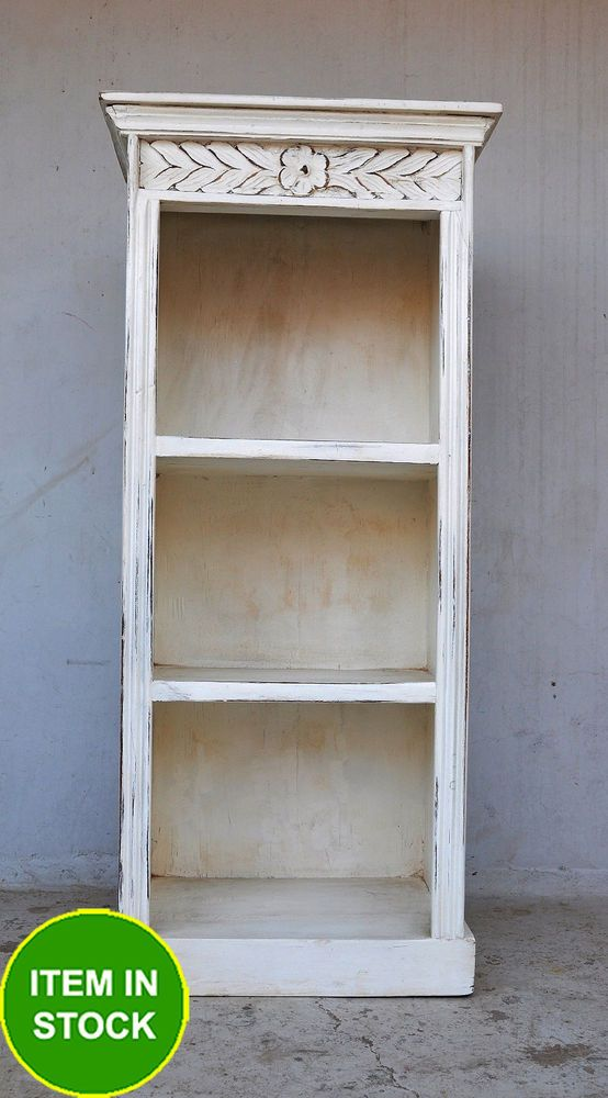 French Shabby Chic White Solid Timber Tall Thin Bookshelf Book Stand Shelf New