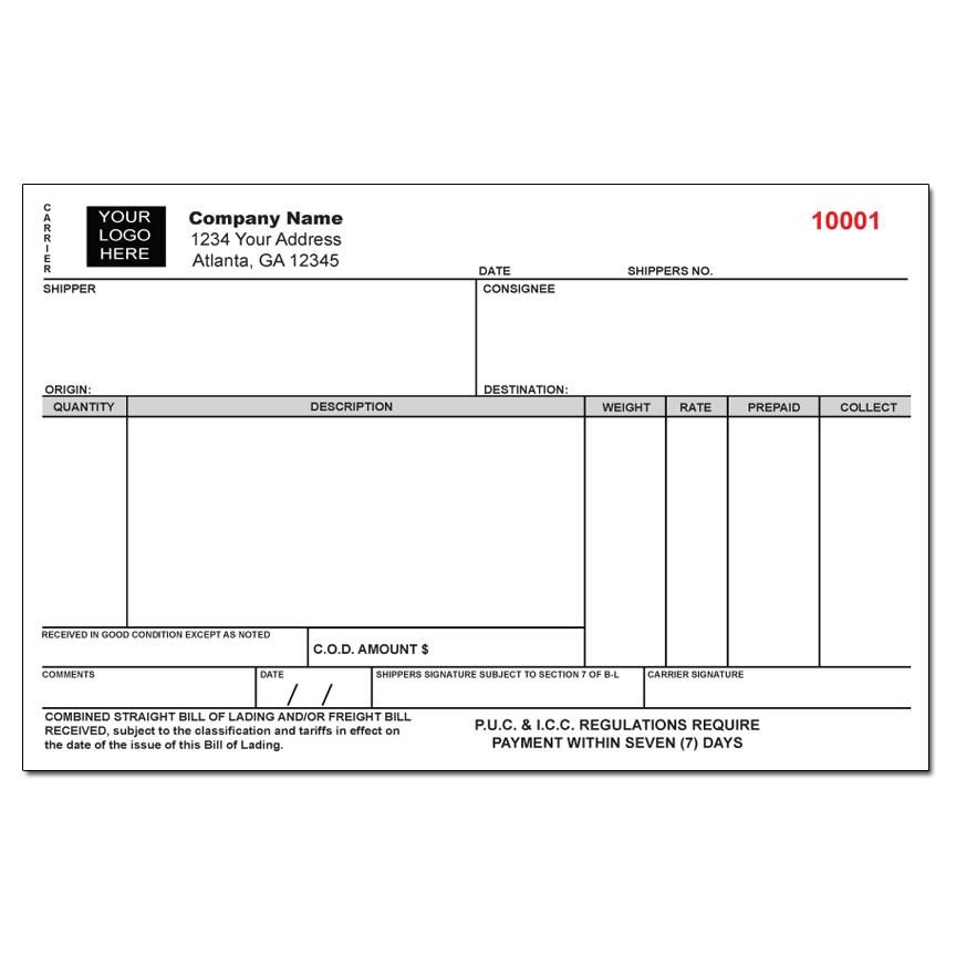 Custom Freight Bill Of Lading Form | Shipping And Export Forms