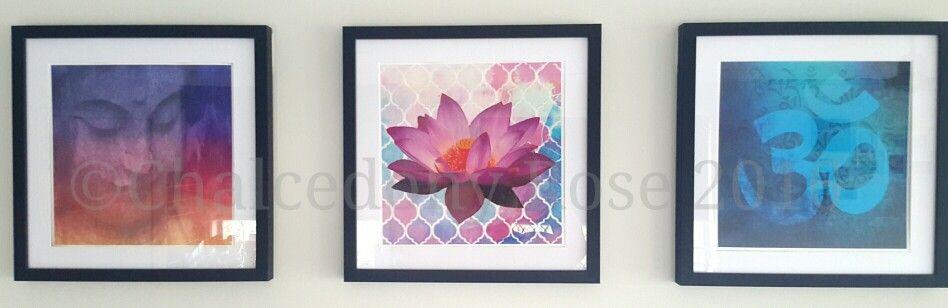 Original Digital Designs,  framed. ©Caroline O'Hagan 2016 OM Namaste Lotus Buddha Framed Pictures