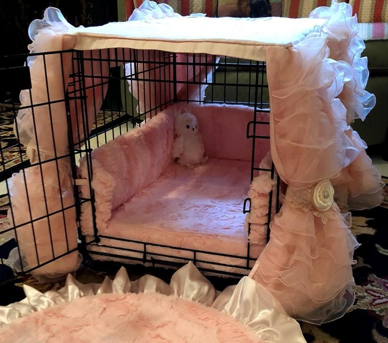 Luxury Dog Crate Cover - Ruffles, Silk and Satin C