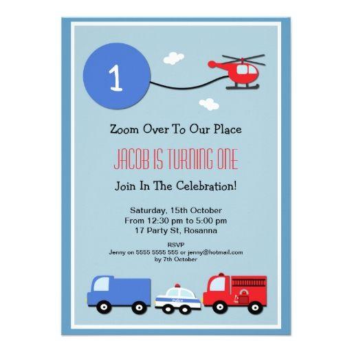 Boy s 1st Birthday Transport Invitation