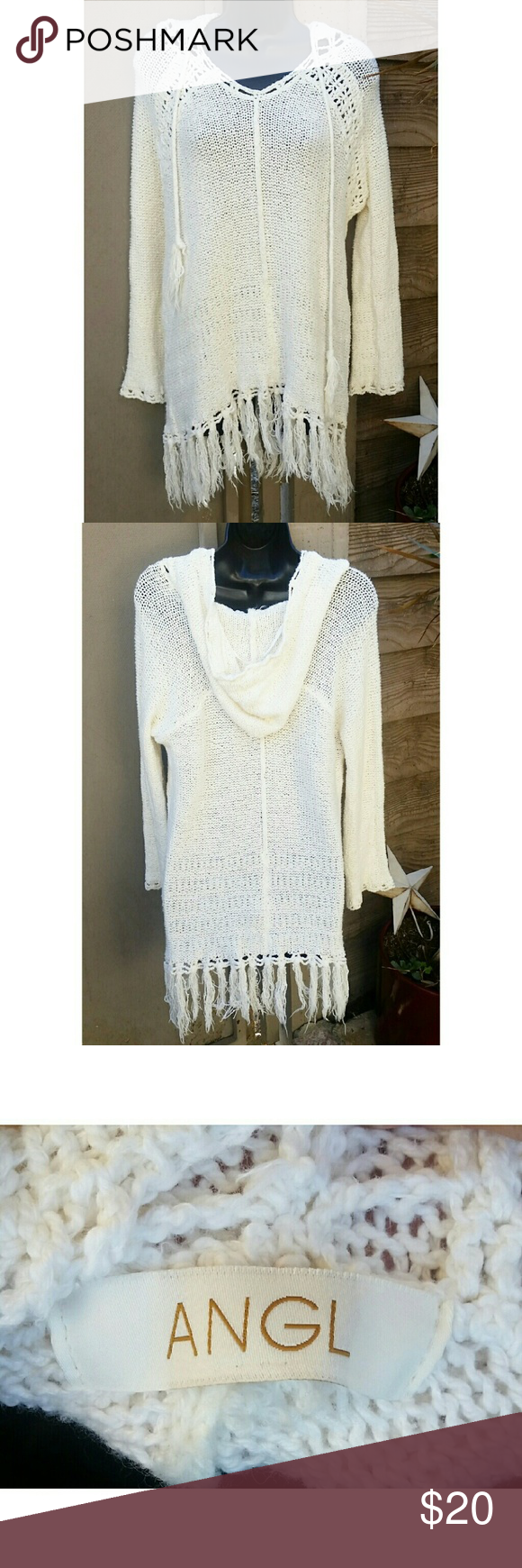 ANGL HIPPIE BOHO IVORY HOODED KNIT SWEATER DRESS Super cute cream colored knitted sweater! Could also be worn as a dress depending on how tall you are! Has a hood on the back and two drawstrings. The bottom is all tassle! Made by ANGL. No size tag but I'd say it's a size medium. Excellent, like new condition. So chic! ANGL Sweaters