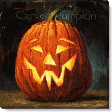Halloween Gallery Wrap on Wood Frame ~ Carved Pumpkin II Halloween - print halloween decorations